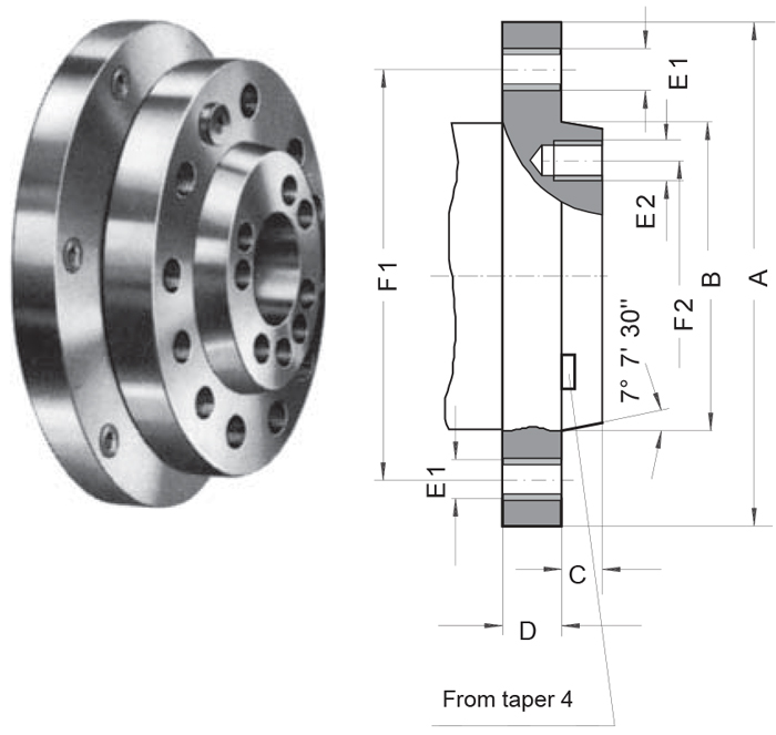 Type A1 A2 lathe chuck mounting