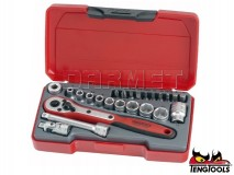 "6-Point Socket Set T1424, 1/4"" Drive, 24 pcs - TENG TOOLS (16792-0107)"
