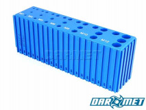 Tap stand for M3 - M12 screw taps | 28 sockets | Color: blue (2071)